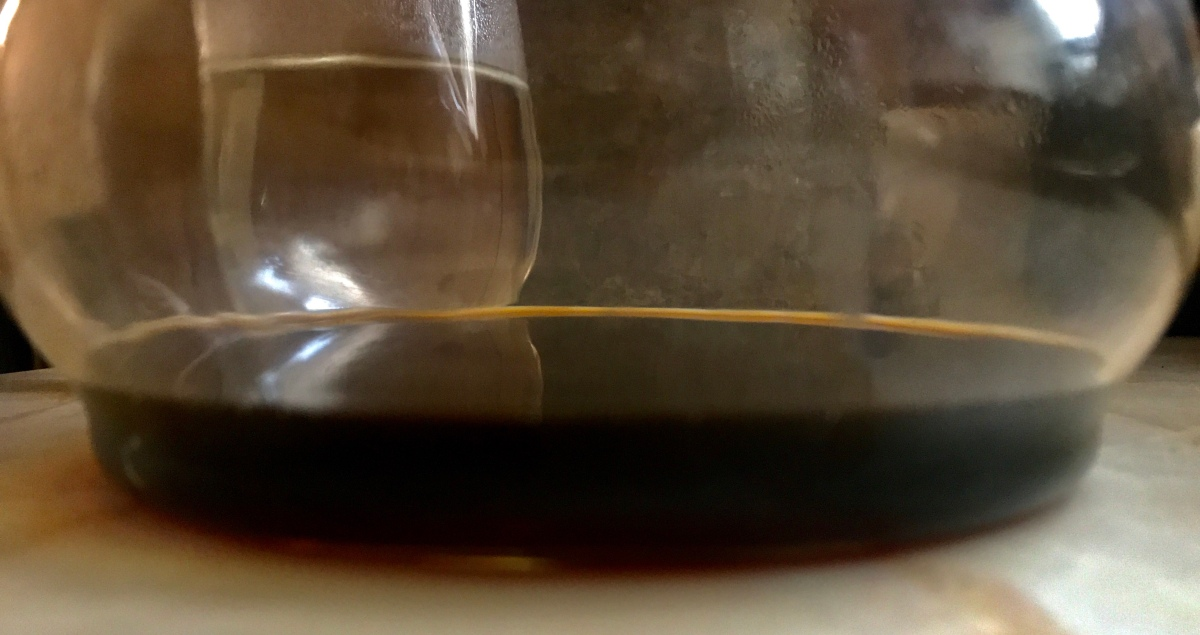 Chemex Coffee Pour Over, wine glass, and mortar